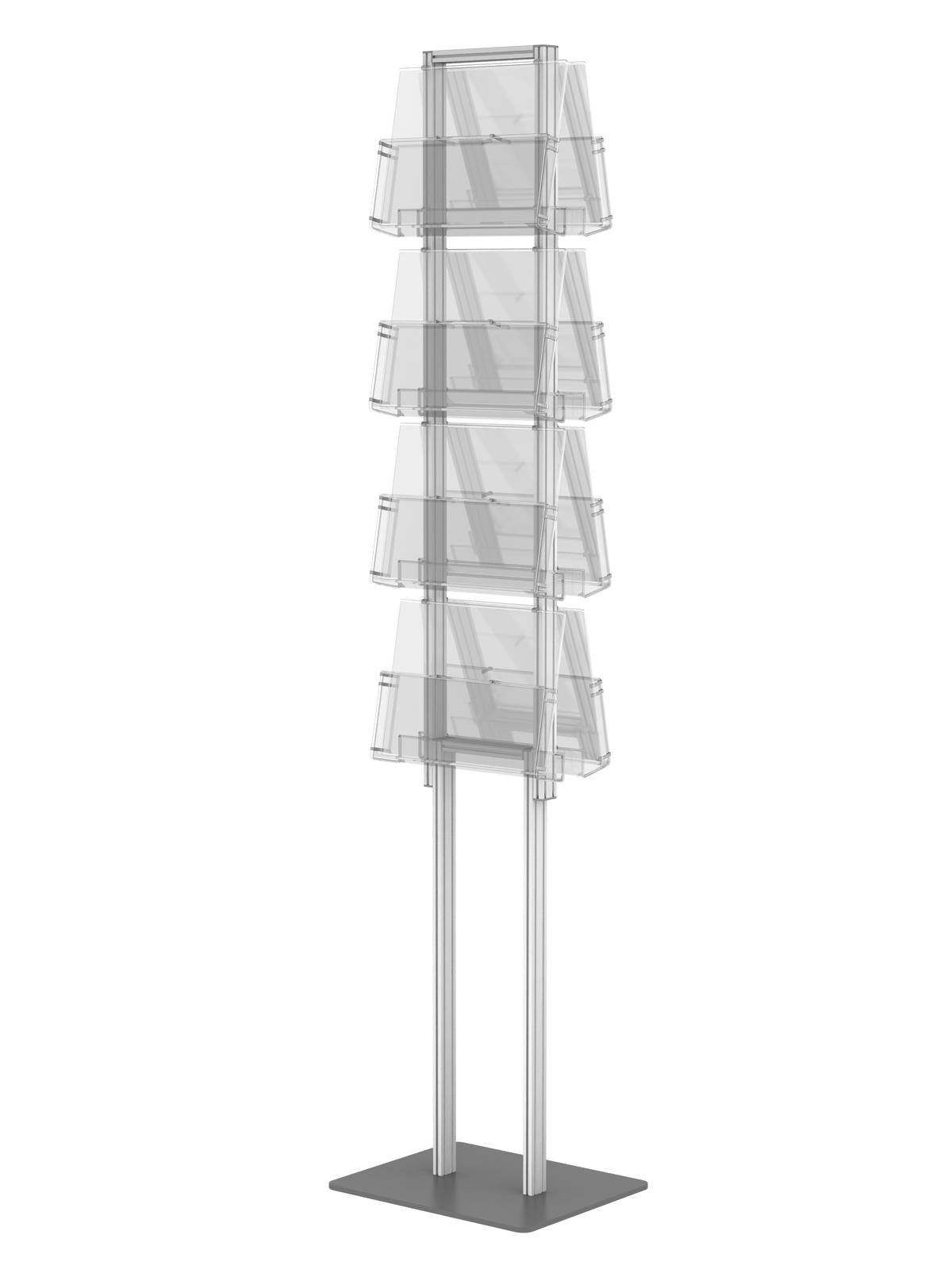Wszystkie nowe składany stojak na ulotki dwustronny + 8 kieszeni A4 poziomo ZF21